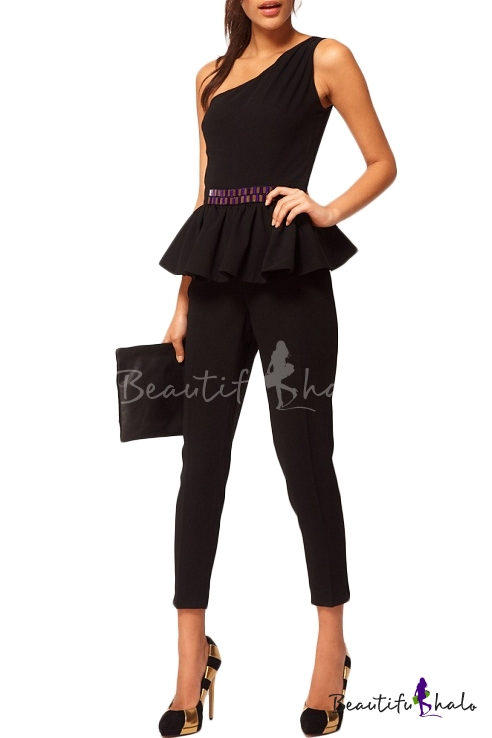 Buy Black One Shoulder Sleeveless Ruffle Hem Belted Jumpsuits