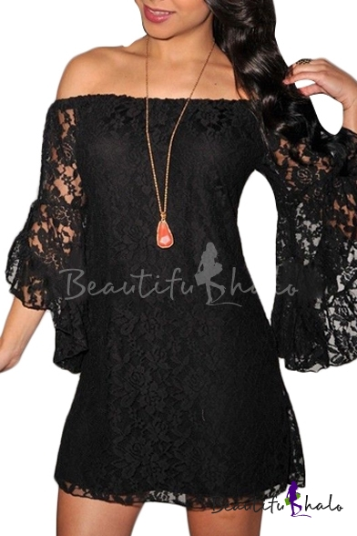 Buy Off-the-Shoulder Lace Flare Sleeve Mini Column Dress