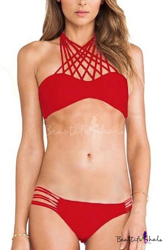 Buy Strappy Red Plain Cutout Bikini Bottom Set
