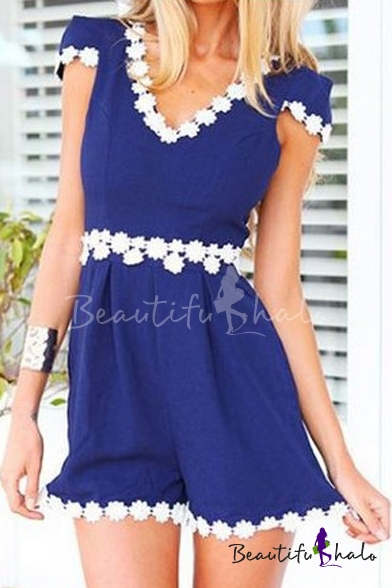 Buy Dark Blue V-Neck Cap Sleeve White Lace Flora Trim Rompers