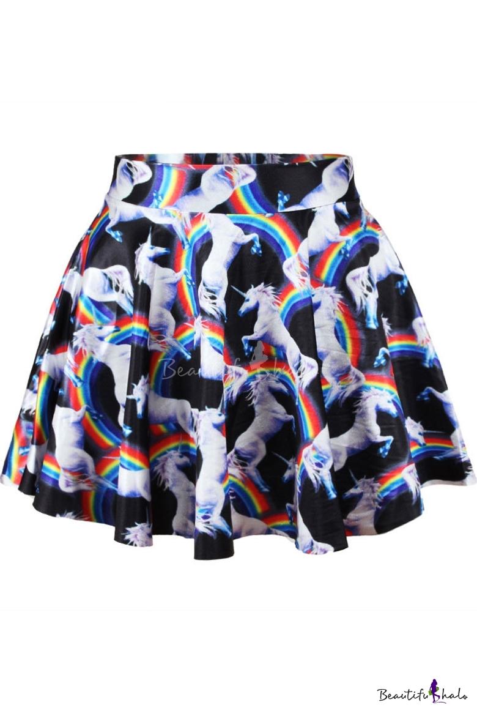 Buy 3D Unicorn Print Mini Skirt