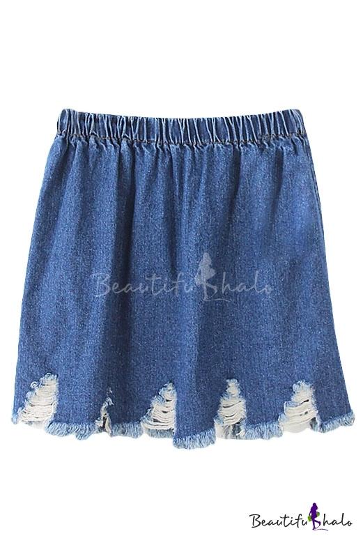plain elastic waist ripped hem denim mini a line skirt