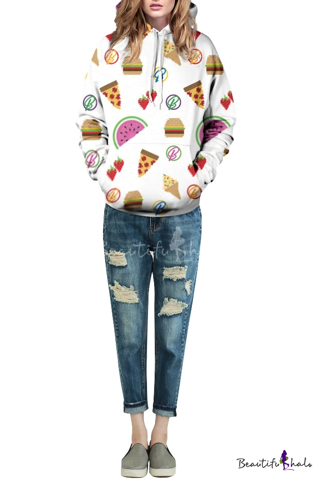 Buy White Laid Back Cartoon Food Print Hoodie