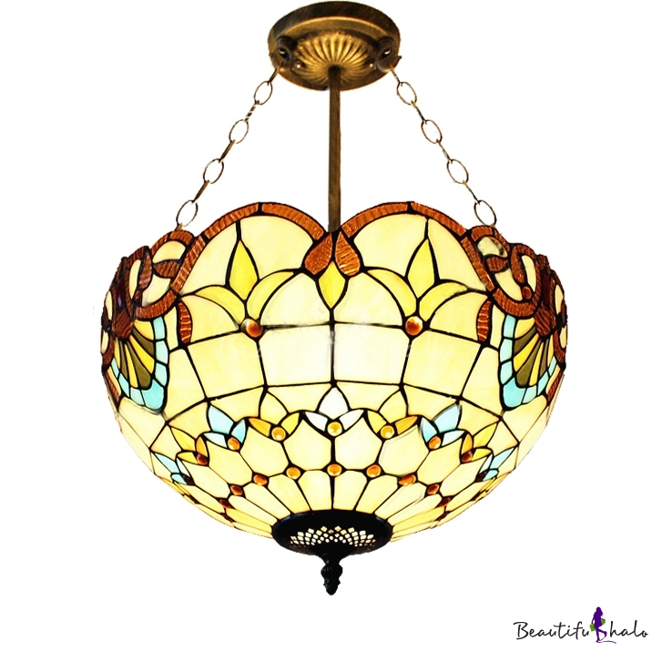 Five Light Beige Bowl Shade Stained Glass 12 Inch Tiffany Chandelier Pendant