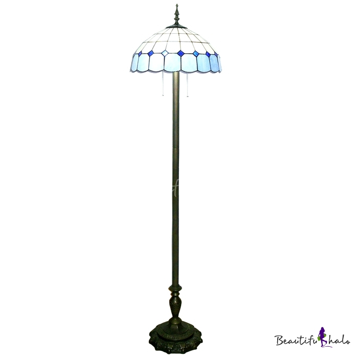 Buy 65 Inch High Living Room Floor Lamp Tiffany Blue White Stained Glass Style