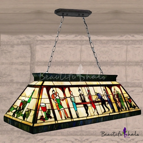 Fancy Hand Made Stained Glass Tiffany Four Light Pool Table Pendant Lighting