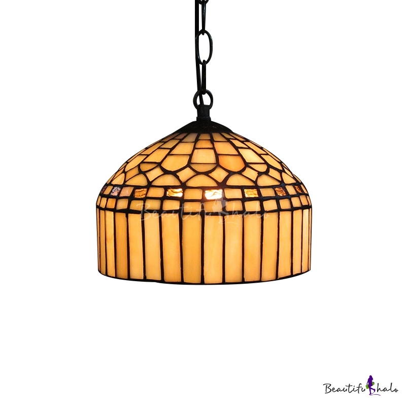 Dome Shade Hand Made Stained Glass Tiffany One Light Hanging Pendant Lighting