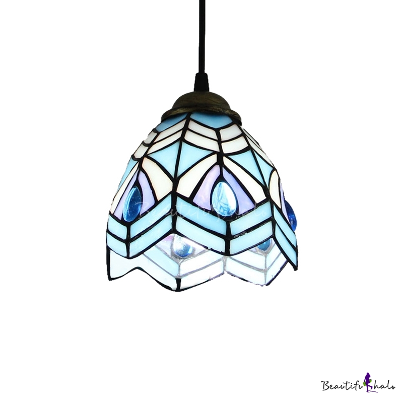 Peacock Style Blue Stained Glass Tiffany One Light Mini Hanging Pendant Bea