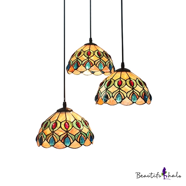 12 Inch Round Shade Shell Stained Glass Tiffany Three Light Pendant Lighting