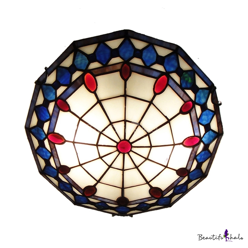 blue pattern 16 inch flush mount ceiling light in tiffany. Black Bedroom Furniture Sets. Home Design Ideas