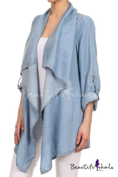 Buy Waterfall Neck Long Sleeve Plain Longline Denim Coat