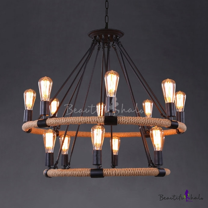 Industrial Lighting Rustic Chandelier Iron Pipe Ceiling: Buy 1 Tier Industrial Foyer Chandelier Rustic Iron Pipe