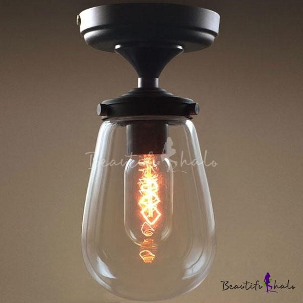 Modern Clear Glass Ceiling Lamp Fixture Small Simple Light