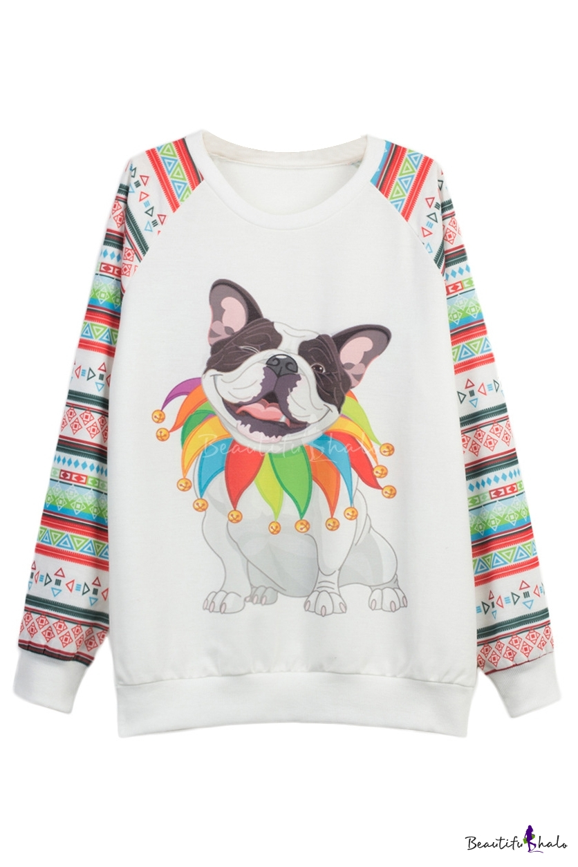 Buy White Geometric & Cut Dog Print Raglan Sleeve Sweatshirt