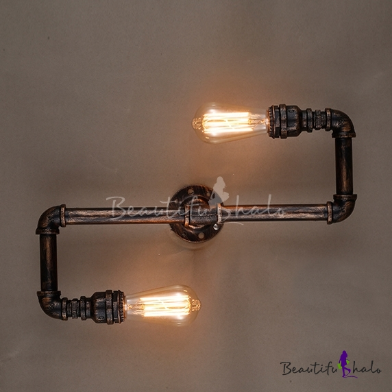 Copper Pipe Wall Lights : Industrial 2 Light Pipe Wall Lamp in Aged Copper Finish - Beautifulhalo.com
