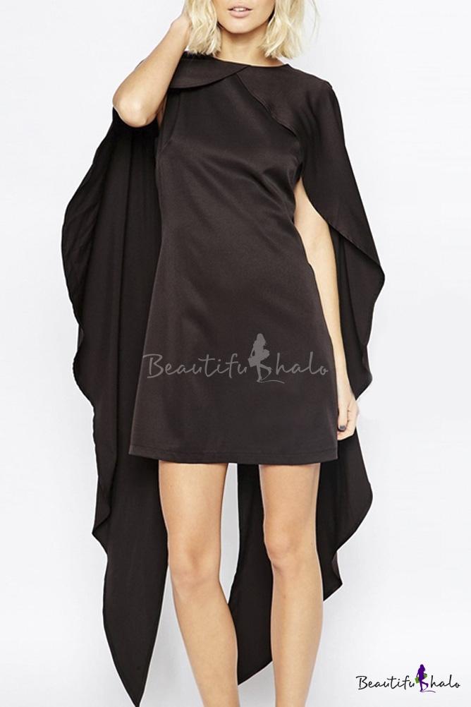 Buy Cloak Cape Sleeve Black Plain Round Neck Mini Dress