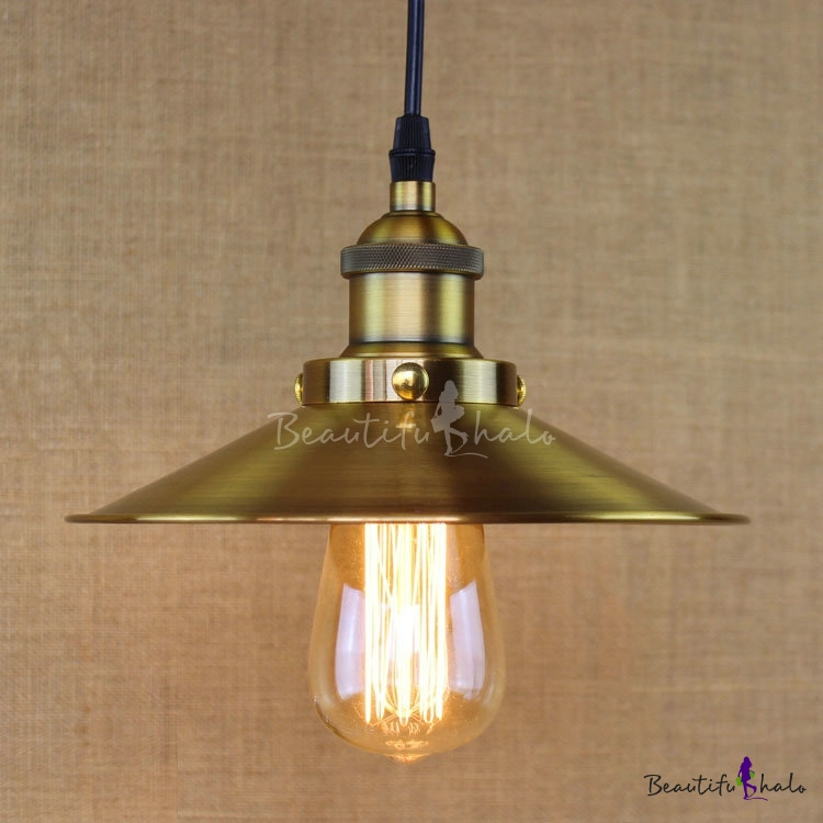 Buy Brushed Brass 1 Light Lighting Cone Metal Hanging Pendant