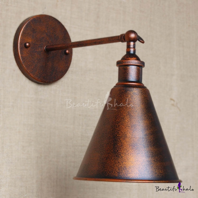 Weathered Copper Single Light Indoor Hallway Wall Sconce with Cone Metal Shade - Beautifulhalo.com