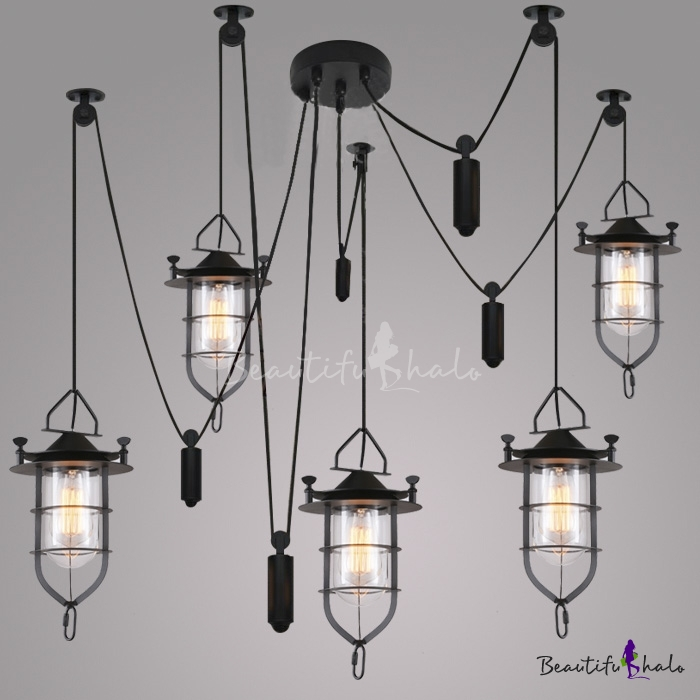Buy 5 Light Lighting Indoor / Outdoor Black Lantern Style Pendant