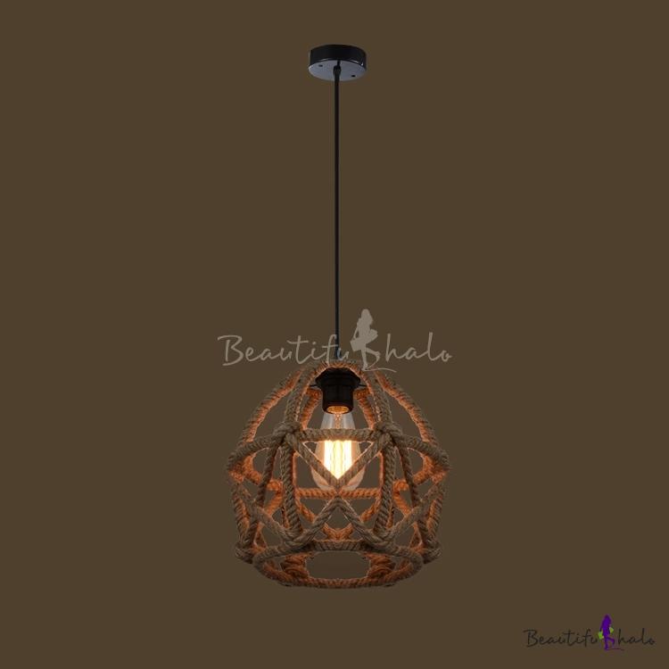 Buy cylinder single light burlap mini pendant at for Burlap lights