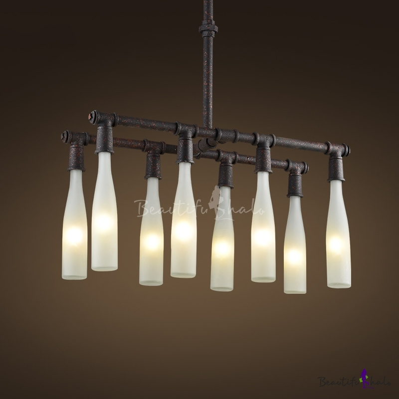 Buy Rust Iron Eight Light White Glass Bottle 1 Tier Island Chandelier