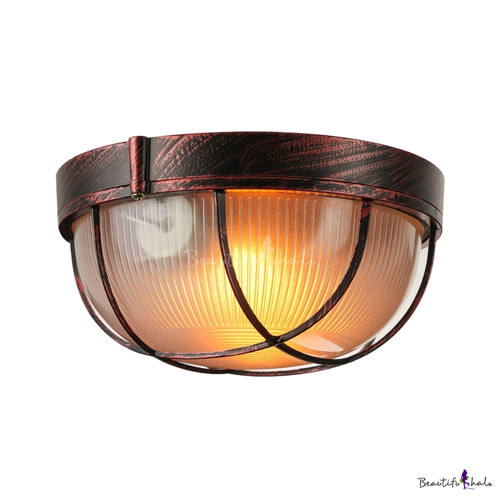 Buy Flush Mount Olde Bronze Ribbed Glass