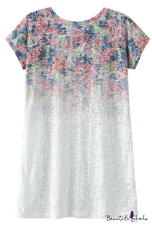 Buy Round Neck Floral Print Ombre Short Sleeve Tunic Tee