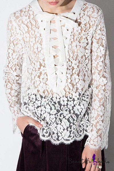 Buy Crisscross Tie Front Lace Sheer Long Sleeve White Blouse