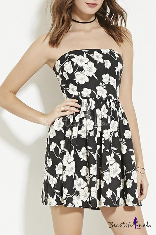 Buy Floral Print Strapless Pleated Waist A-Line Dress
