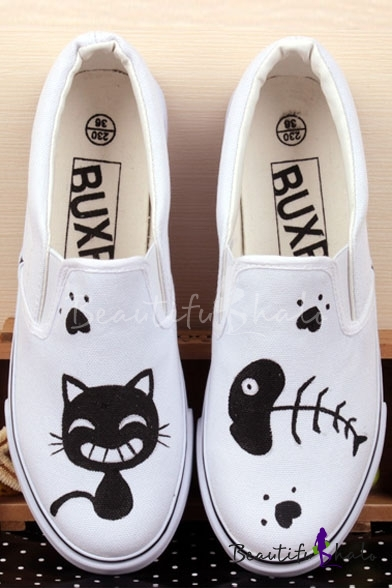 Buy White Cute Cartoon Hand-Painted Canvas Round Toe Platform Girl's Sneakers