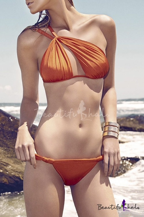 Buy One Shoulder Cut Sexy Bikini Set