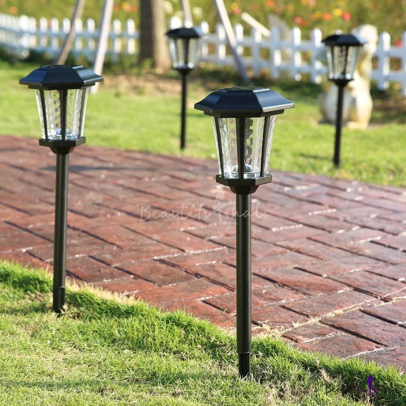 25 39 39 h large outdoor solar led pathway landscape lights in black