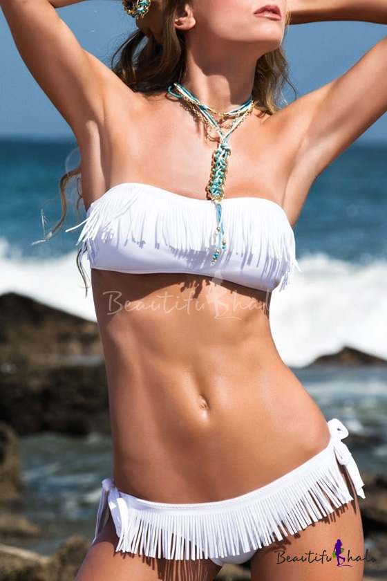 Buy Fringed Bandeau Bikini Set