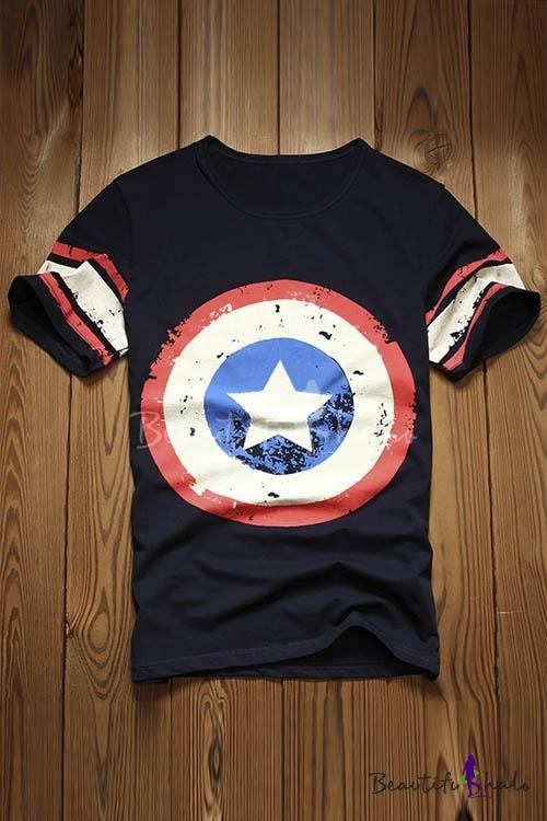 Buy Super Hero Captain America Print Round Neck Short Sleeve T-Shirts