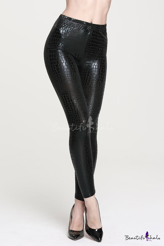 Buy Fashion Women Wet Look Leather Elastic Waist Animal Texture Leggings