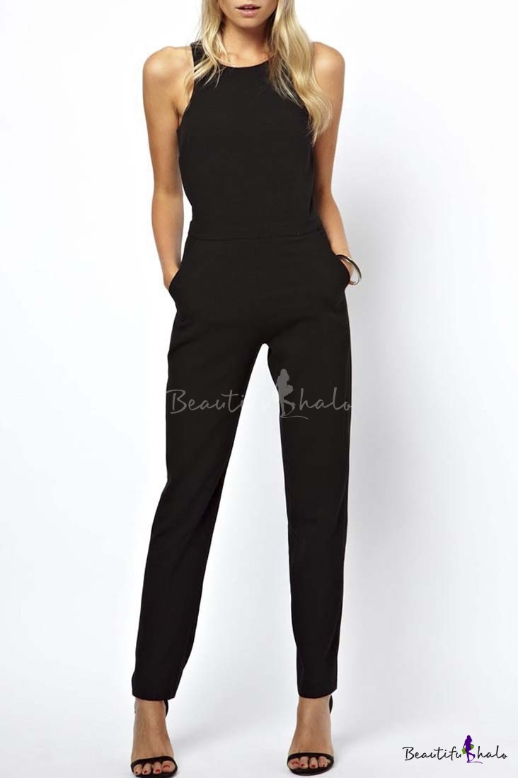 Buy Fashion Women Plain Round Neck Sleeveless Pockets Long Jumpsuits