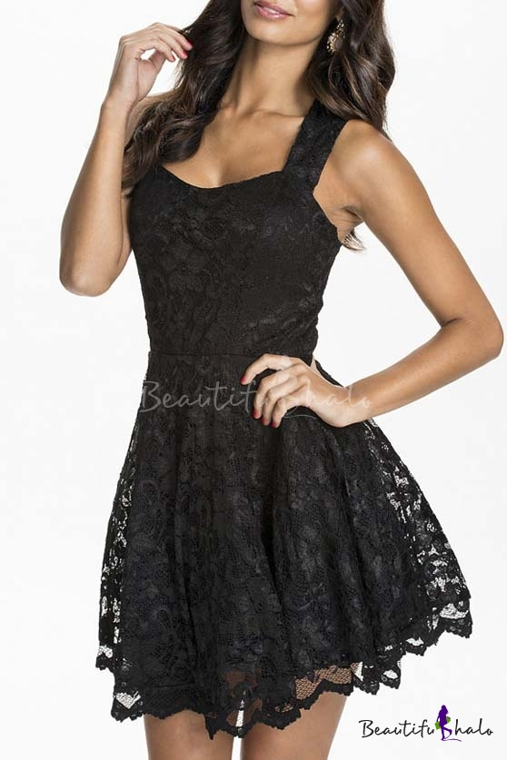 Buy Womens Floral Lace Skater Pleated Party Casual Dress
