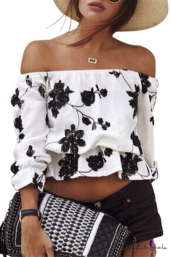 Buy Sexy Printed off-shoulder Floral Crop Top Blouse