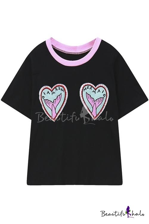 Buy Kawaii Street Style Round Neck Short Sleeve Heart Shaped Cartoon Print Tee