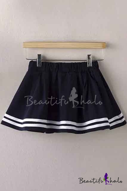 Buy Sweet Young Style Striped Hem Mini Elastic Waist Skirts
