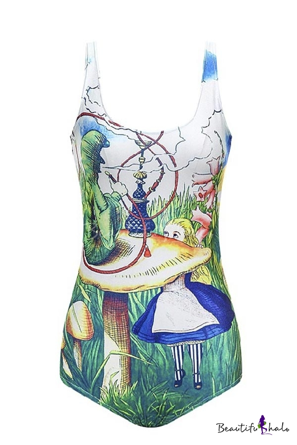 Buy Funny Colorful Square Neck Cartoon Print One Piece Swimwear