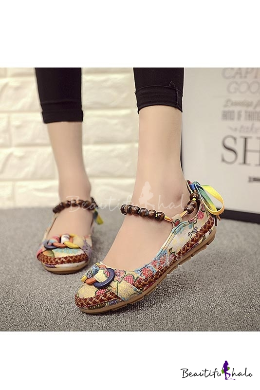 Buy Women Casual Flats Lace Beading Round Toe Colorful Comfortable Loafers Shoes