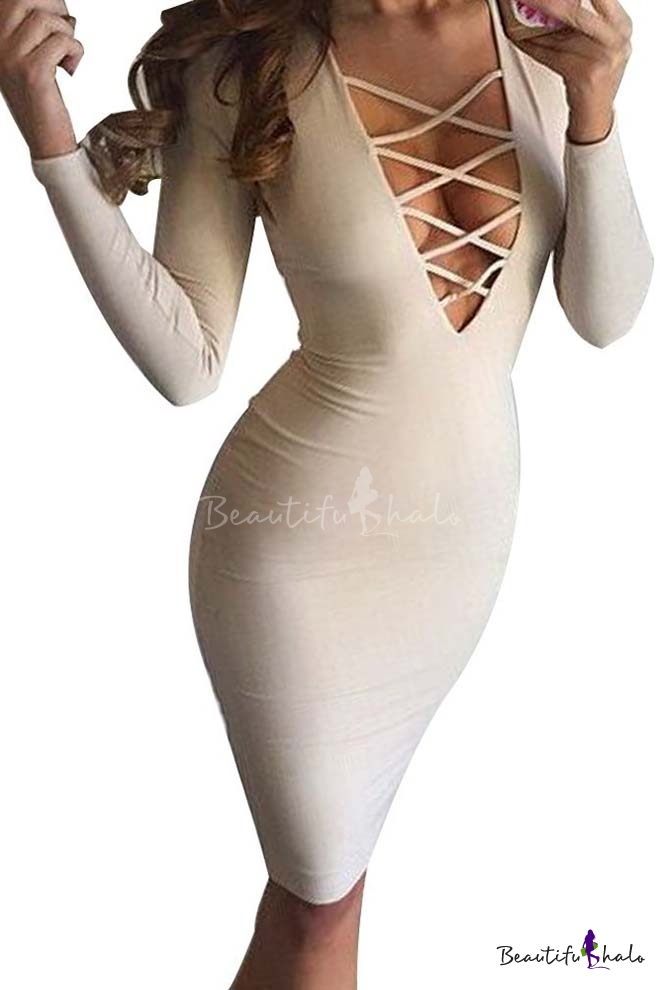 Buy Women Sexy Long Sleeve Autumn Warm Stretch Bodycon Party Bandage Dresses