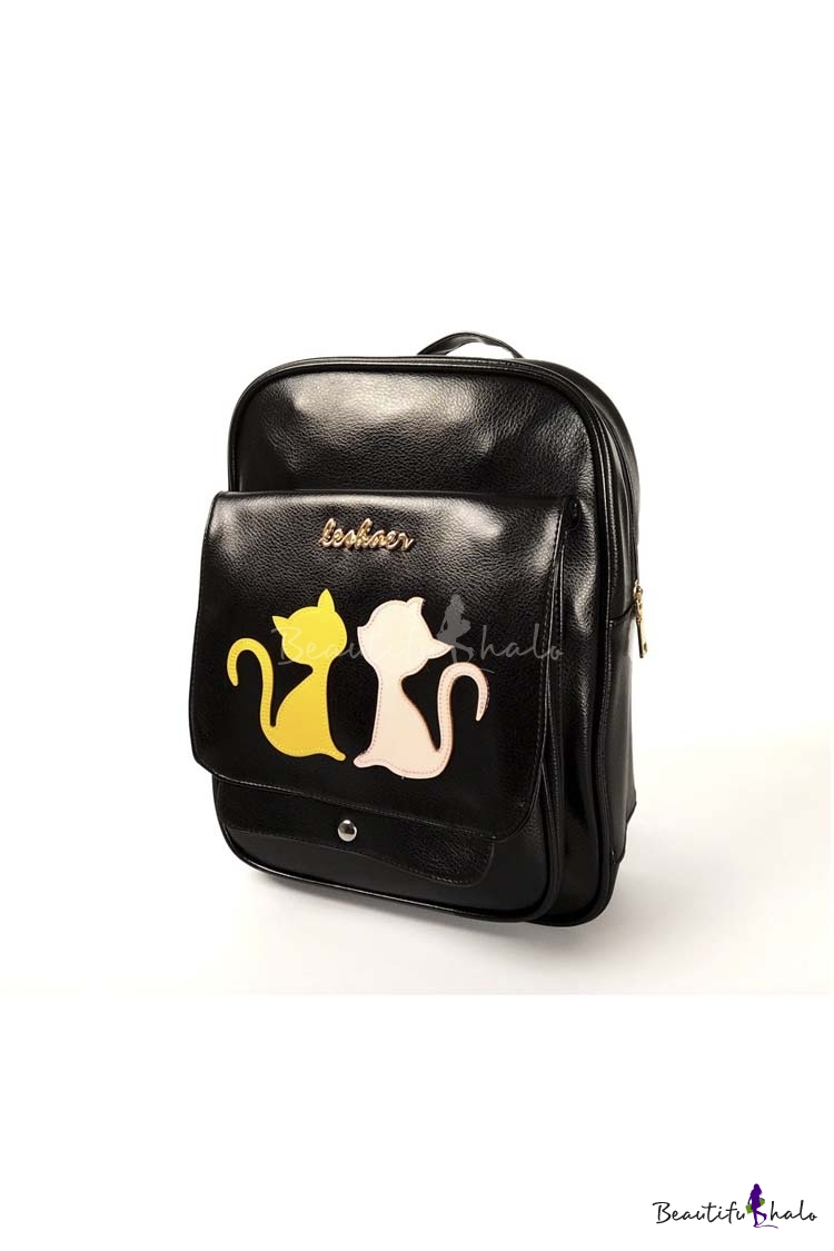 Buy Fashion Pu Young Style Cat Pattern Women School Bag/Travel Bag Outdoor Backpack
