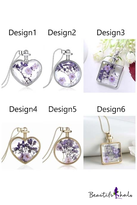 Buy Popular Plant Apecimen Dry Flower Embellish Elegant Alloy Pendant Necklace