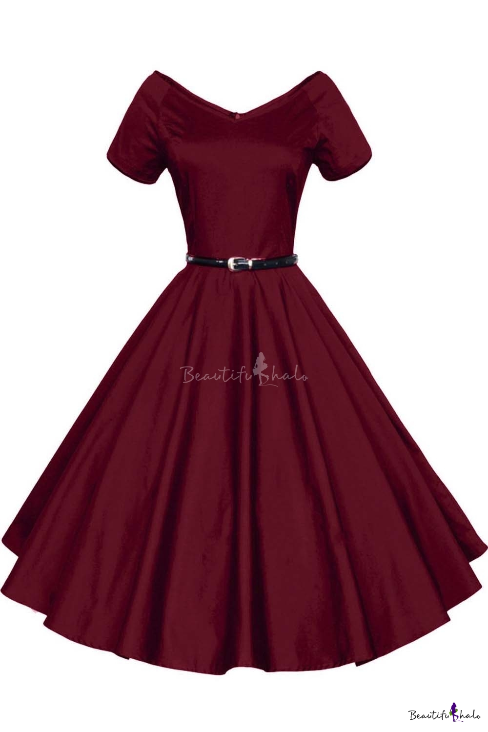 Women 1950s V Neck Vintage Rockabilly Swing Evening Party
