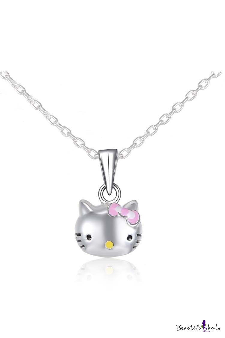 Buy Kawaii Cartoon Character Hello Kitty Pandent Sliver Necklace