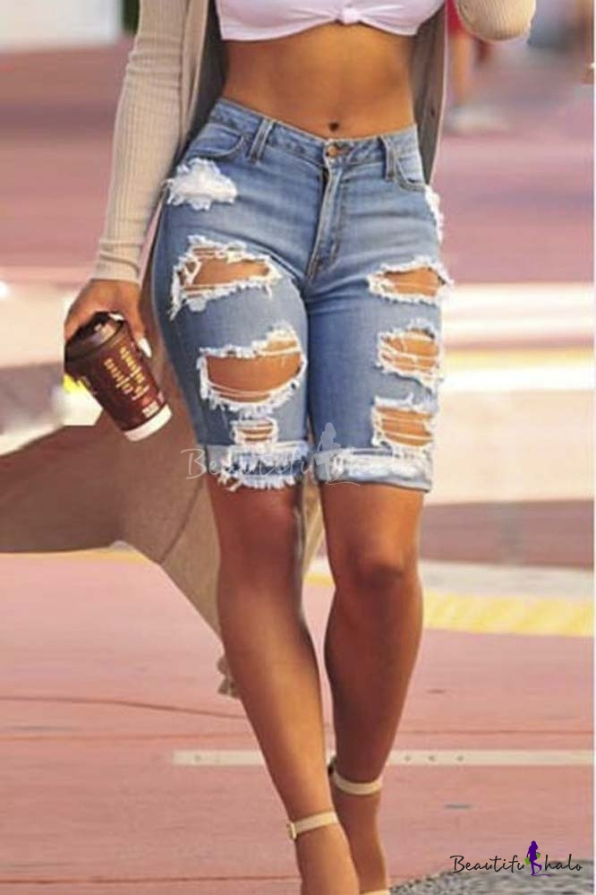 Buy Women's High Waist Ripped Hole Washed Distressed Denim Shorts Jeans