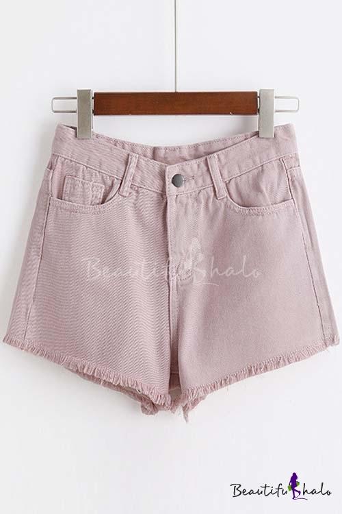 Buy Plain Raw Hem Chic Hot Shorts