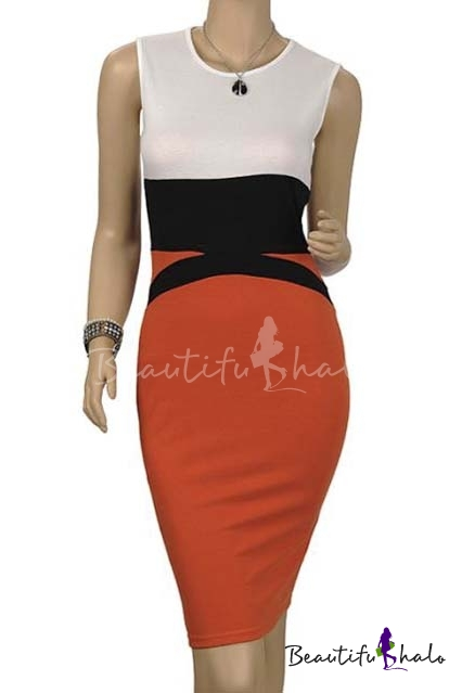 Buy Women's Scoop Neck Cap Sleeve Optical Illusion Business Bodycon Pencil Dress